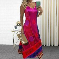 Womens Floral Print V Neck Dress Summer Beach Maxi Casual Loose Long Sundress