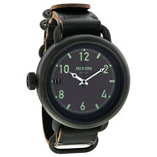Nixon October Black Dial Black Leather Mens Watch A279001