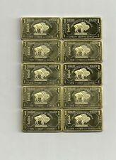 10 x 1 Oz 999 de latón Brass American Buffalo top dinero apéndice! muy raramente! nuevo