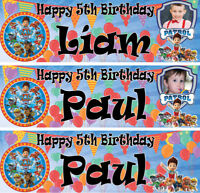 2 x personalised birthday banner photo paw patrol children nursery party deco