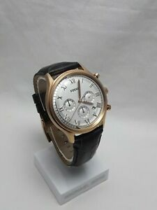 Fossil Ansel Men's Rose Gold Tone Chrono Black Leather Silver Dail & Date FS4744