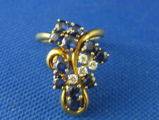 VINTAGE 14K YELLOW GOLD SAPPHIRE & DIAMOND RING SIZE 4 1/4