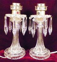 2 Art Deco Buffet Lamps Drop Prism Bobeche Dining Room Bedroom Boudoir Vintage