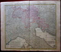 Northern Italy Italia Tyrol Danube River course c.1745 Homann large map