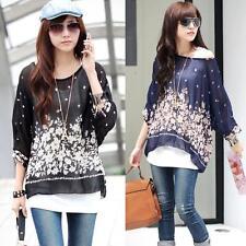 1PC Ladies Batwing Sleeve Blouse Bohemian Chiffon Shirt Floral Oversized Blouse