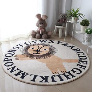 Large Round LION Children Nursery Playroom Crawling Floor Rug Kids Room Decor