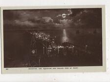 Brighton The Aquarium & Palace Pier At Night [253] Vintage RP Postcard 905a