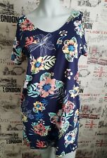 NEW GEORGE NAVY BLUE FLORAL TUNIC TOP SIZE 12 UK