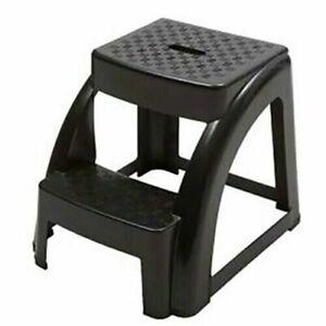 2-Step 250 Pound Capacity Durable Utility Step Stool - Black