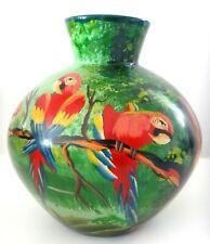 Superbe vase boule ceramique perroquets signé MORIT Old parrots painted signed