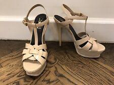 YSL Yves Saint Laurent Tribute Size 38.5 Platform Sandals Nude Patent Leather