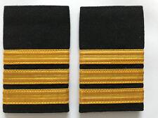 3 Bar Airline Pilot or Merchant Marine Epaulette, Gold Stripe Epaulettes