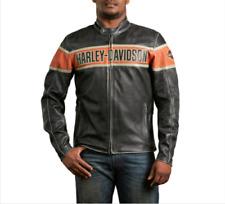 Harley Davidson Victory Lane Men's Leather Jacket Genuine Black Cowhide