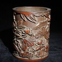 Chinese Exquisite old Hand-carved Fish and lotus statue bamboo Pen Brush pot