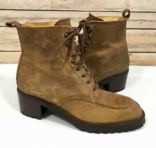 Free Lance New Classics Ankle Boots 39 US 8 Tan Brown Leather Lace Up Distressed
