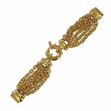 14mm Ladies Watch Band Bracelet Gold Tone 6 Strand Chain Large Spring Ring Clasp