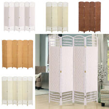 4/6 Panel Wooden Room Divider Partition Foldable Privacy Screen Weave Wicker