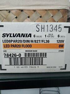 Sylvania LED PAR20 FLOOD 8W Medium base 6bulbs/DIMMABLE