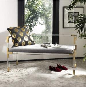 Safavieh Couture Collection Anastasia Bronze Acrylic Bench New