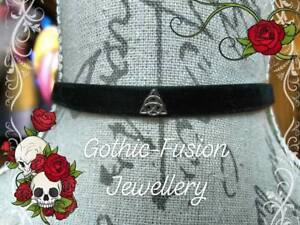 Triquetra Black Velvet Choker Pagan Protection Amulet Power of Three Charmed