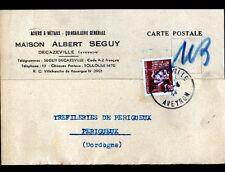 """DECAZEVILLE (12) QUINCAILLERIE & METAUX """"Albert SEGUY"""" Carte d'Entreprise en1944"""