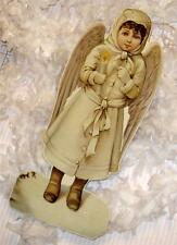 Victorian Die-Cut Child Waif Candle Snow Angel Christmas Feather Tree Ornament