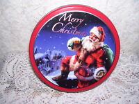 Santa Claus Tin Box Merry Christmas Plaid Bottom