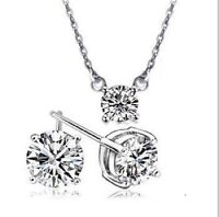 2 PIECE CLEAR AUSTRIAN CRYSTAL WHITE GOLD PLATED KPW1 JEWELLERY SET NECK EAR