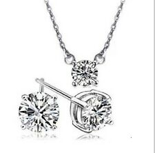 CLEAR AUSTRIAN CRYSTAL 2  PIECEWHITE GOLD PLATED KPW1 SET NECKLACE EARRING