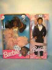 1991 AFRICAN AMERICAN SPARKLE EYES BARBIE & 2004 HANDSOME GROOM KEN DOLL SET