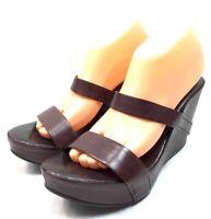 Roberto Del Carlo Cognac Open Toe Strap Wedge Platform Heels Size 40.5 NWD $580