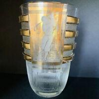 """1930s Val St Lambert Signed VLS BELGIQUE Art Deco Golfer Skater Crystal Vase 7""""H"""