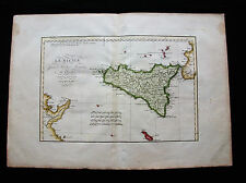 1770 D'ANVILLE - rara mappa: Sicilia, Sud Italia, Palermo, Sicily Sicile Catania