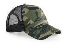 Beechfield Basic Snapback / Trucker Cap Hat Camo Army Green & Panther Black