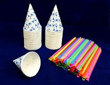 100 Snow Cone Cups 6 oz With Spoon Straws, QUICK FREE SHIPPING