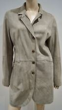Mabrun Beige Collared long manche hiver Suede Leather Lined Jacket Coat it48 16