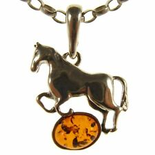 BALTIC AMBER STERLING SILVER 925 HORSE PENDANT NECKLACE CHAIN JEWELLERY GIFT BOX