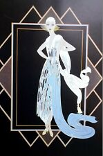 Erte Matted Print 1991 CALIFORNIA TURQUOISE EVENING DRESS Art Deco Fashion Print