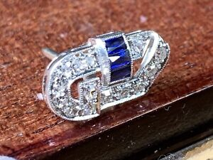 ANTIQUE PLATINUM PIN OR BROOCH WITH 13 DIAMONDS &3 BLUE SAPPHIRE, JUST BEAUTIFUL