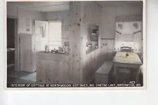 Real Photo Postcard Interior Northwoods Cottage Big Chetac Lake  Birchwood WI