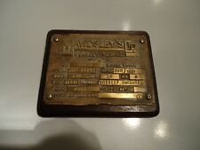 Vintage bronze plaque plate Mawdsley's Ltd Dursley Alternator industrial Deco