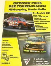 5 6. JULIO 80 Grande Precio el coche turismo Nürburgring FOLLETO del programa