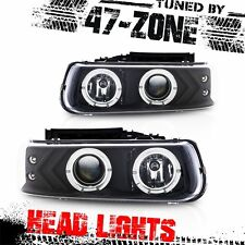 For Stealth Silverado Suburban Tahoe Angel Eye Projector Black Housing Headlight