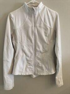 Lululemon Womens zip up jacket ivory khaki size 8