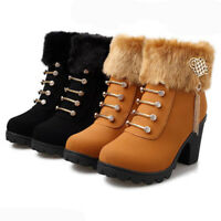 Women Winter Warm Cotton Lined Zipper Tassel Ankle Boots Block High Heel  *