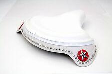 "White Leather Solo Seat Knuckle Pan Shovelhead 45 61 74"" EL FL WL VL UL G Skirt"