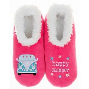 Ladies Slipper Snoozies! Cerise Happy Camper Design Ideal  Camper van Gift
