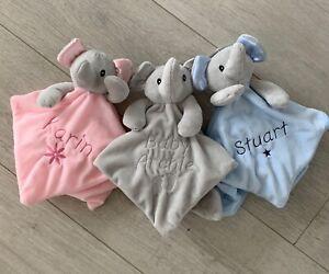 PERSONALISED BABY COMFORTER NAME SOFT FLEECE ELEPHANT BABY GIFT BLUE PINK GREY