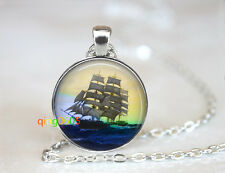 Ship Set Sail To Open Sea Ocean Tibet silver Chain Pendant Necklace wholesale