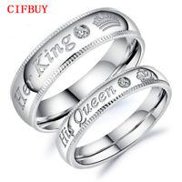 """Romantic Paar Ringe Silber """"Her King His Queen"""" Edelstahl Ring Liebhaber Schmuck"""